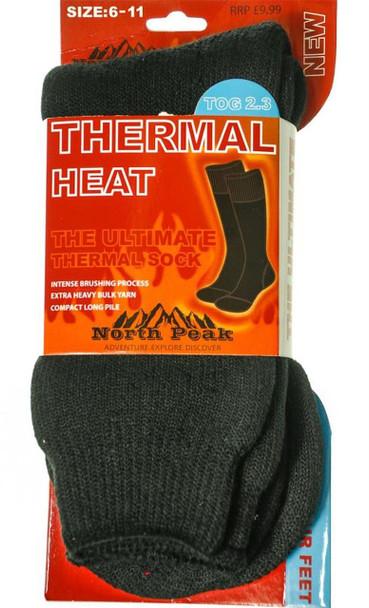 Thermal Heat Socks In Black North Peak Design Size 6-11
