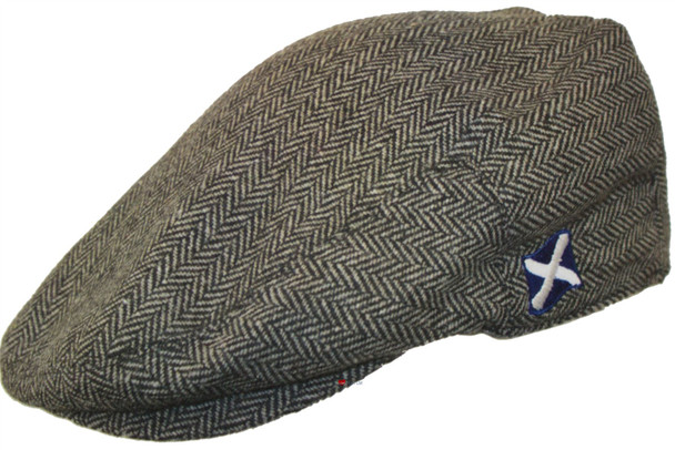 Scottish Cap Tweed Cap Co Saltire Logo Flat Cap Grey Herringbone Design Flat Cap