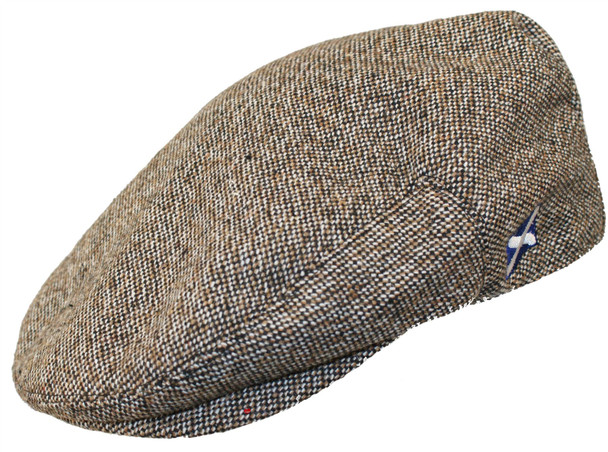 Scottish Cap Tweed Cap Co Saltire Logo Flat Cap Brown Tweed Design Flat Cap