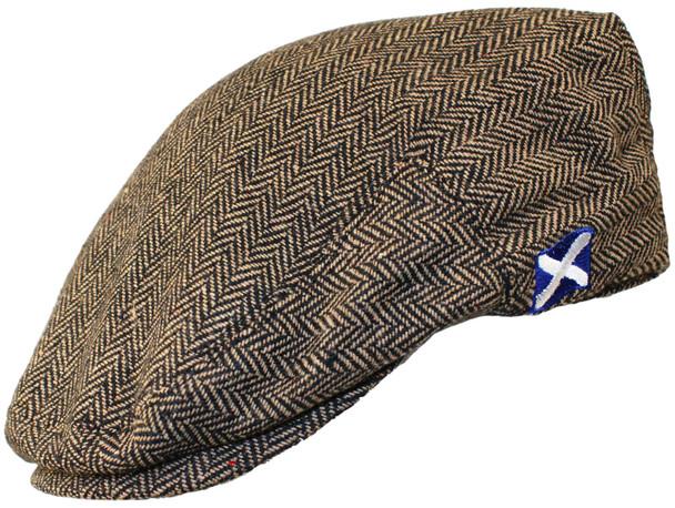 Scottish Cap Tweed Cap Co Saltire Logo Flat Cap Brown Herringbone Flat Cap