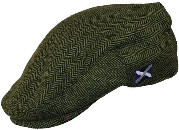 Scottish Cap Tweed Cap Co Saltire Logo Flat Cap Green Herringbone Flat Cap