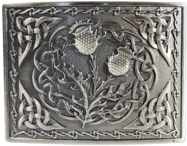 Kilt Buckle Double Thistle Design Antique Finish