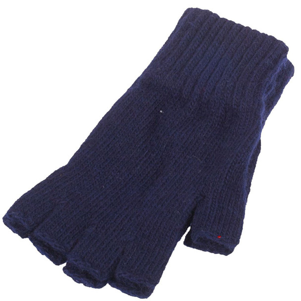 Fingerless Thermal 50% Wool Gloves In Navy Colour