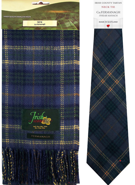 Co Fermanagh Irish County Lambswool Scarf and Irish Tie Set