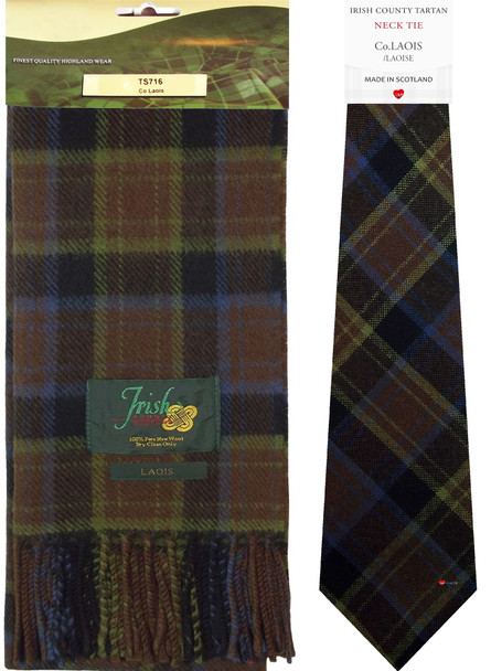 Co Laois Irish County Lambswool Scarf and Irish Tie Set