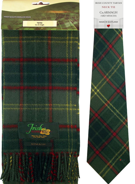 Co Armagh Irish County Lambswool Scarf and Irish Tie Set
