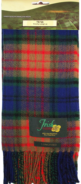 100% Lambswool Scarf in Irish County Longford Tartan