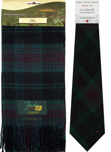Co Carlow Irish County Lambswool Scarf and Irish Tie Set