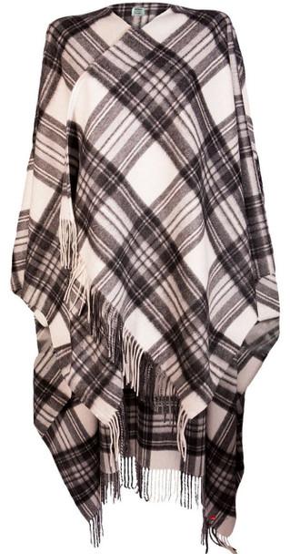 Ladies Luxurious Cashmere Cape in Stewart Grey Dress Tartan