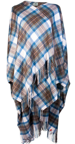 Ladies Luxurious Cashmere Cape in Stewart Muted Blue Tartan