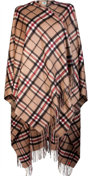 Ladies Luxurious Cashmere Cape in Thomson Camel Tartan