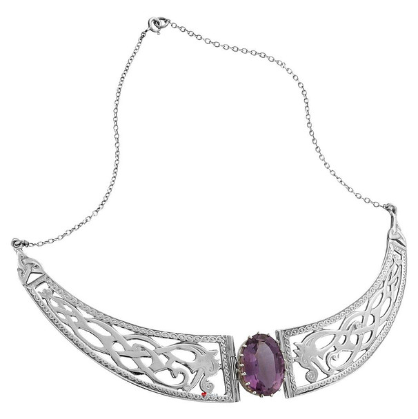 Necklace Sterling Silver Celtic Serpent Panels Amethyst Stone