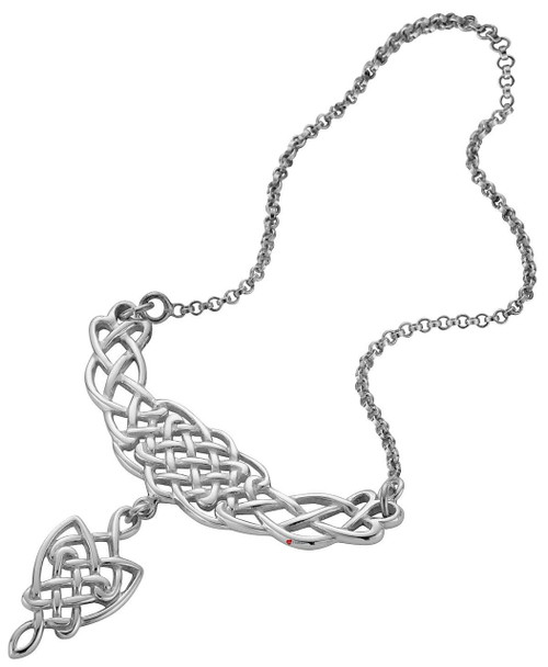 Necklace Crafted Sterling Silver Celtic Open Interlace Necklet Drop