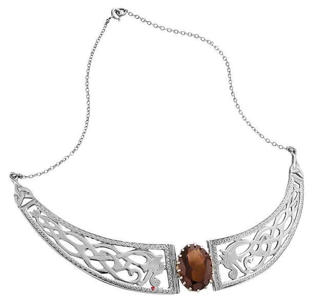 Necklace Sterling Silver Celtic Serpent Panels Smokey Quartz Stone