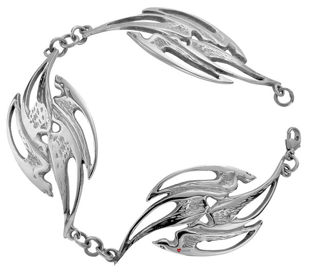 Bracelet Crafted in Hallmarked Sterling Silver Flight Of Swallows