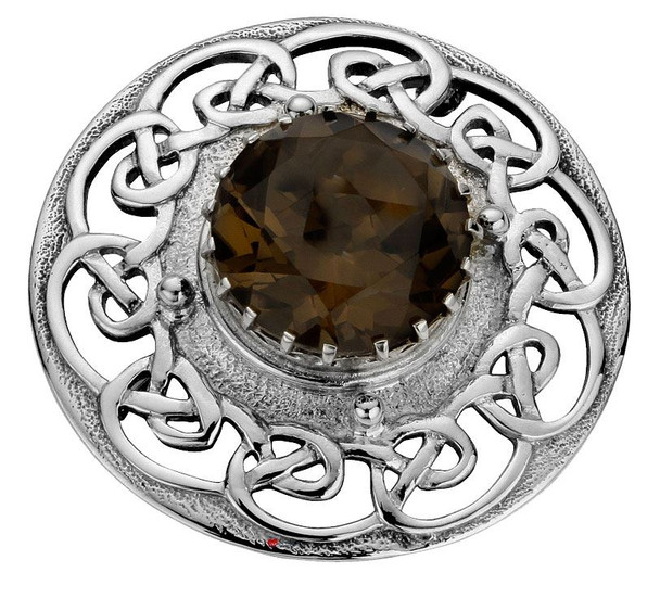 Plaid Brooch Crafted Sterling Silver Celtic Ropework Smokey Quartz 45mm