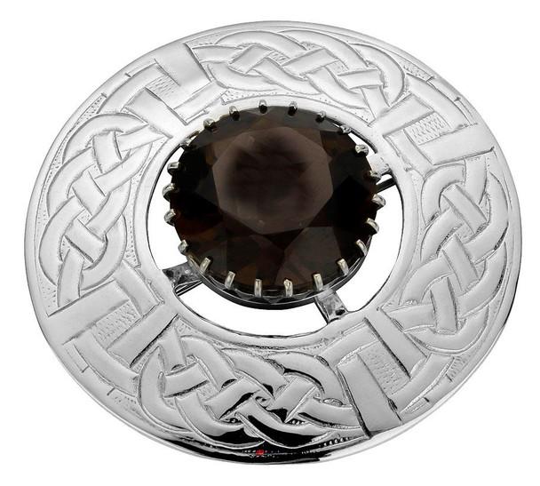 Plaid Brooch Sterling Silver Round Celtic Rope Motif Set Smokey Quartz