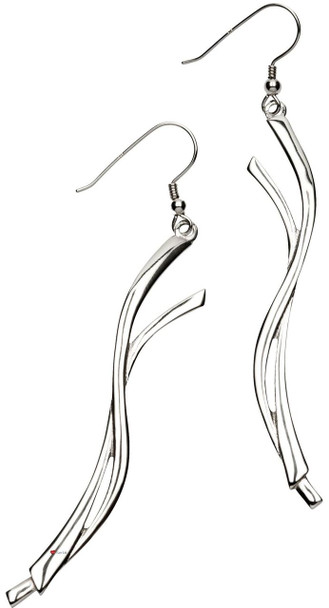 Earrings Sterling Silver Celtic Inspired Entwined Ribbon Shape 67mm