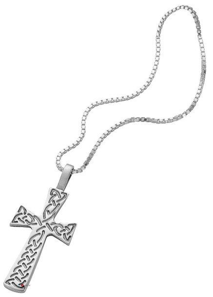 Pendant Cross Hallmarked Sterling Silver with Celtic Interlace 35mm
