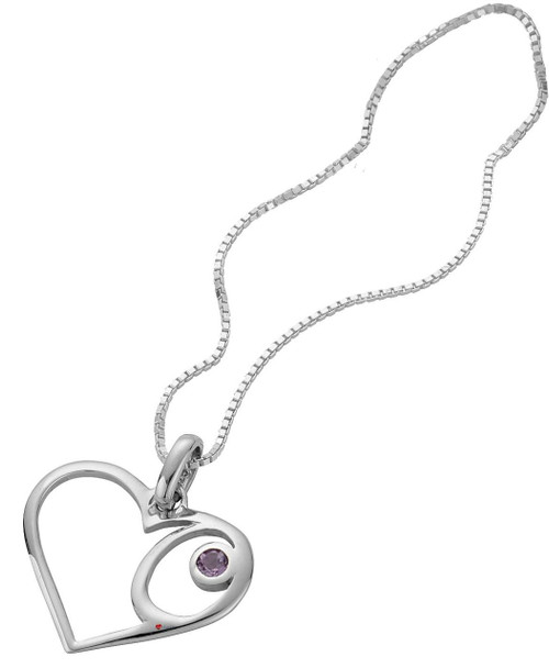 Pendant Sterling Silver Open Celtic Heart Design Offset Amethyst Stone
