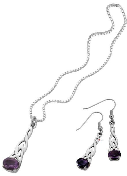Set Amethyst Stone Pendant Drop Earrings Sterling Silver Celtic Style