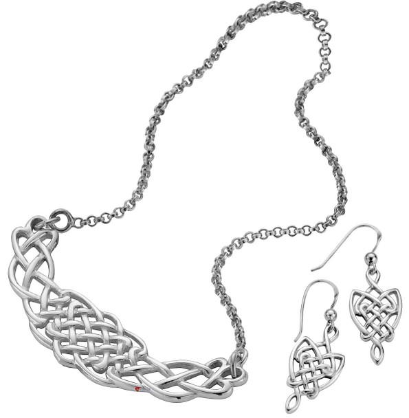 Set Necklace Earings Set Hallmarked Sterling Silver Celtic Interlace