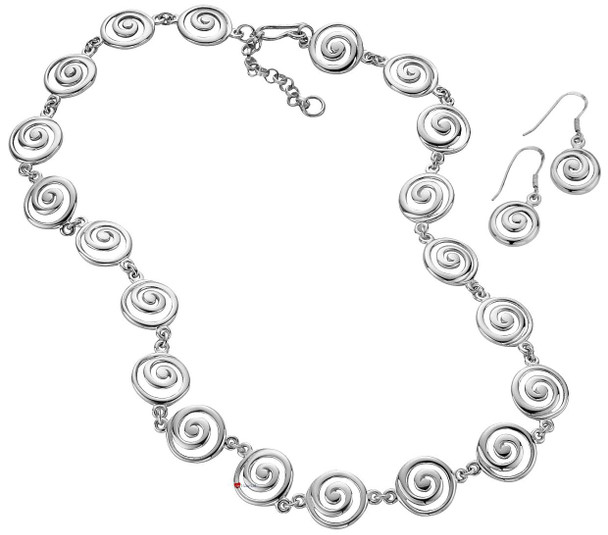 Jewellery Necklace Earrings Set Sterling Silver Celtic Spirals Design
