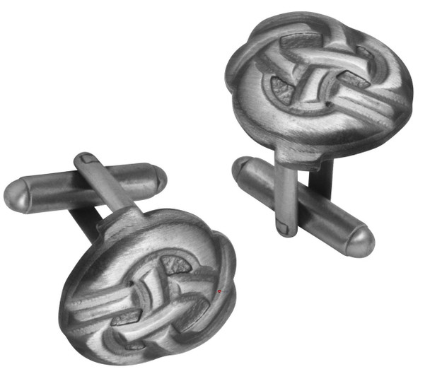 Cufflinks Plated Antique Silver Finish Featuring Celtic Knot Design