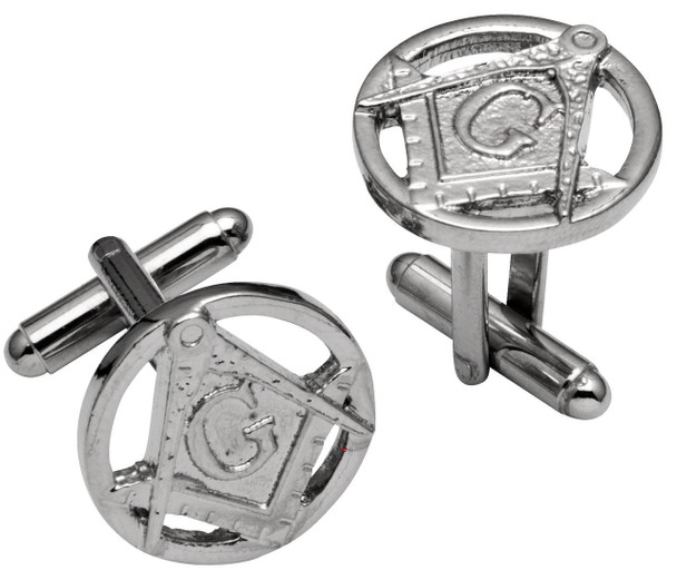 Cufflinks From Plated Bright Palladium Masonic Square & Compasses