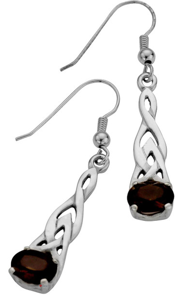 Sterling Silver Earrings Pierced Drop Open Interlace Smokey Quartz