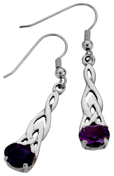 Sterling Silver Earrings Drop Style Fitting Celtic Design Set Amethyst