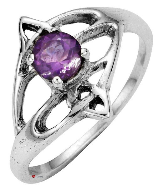 Ring Crafted In Sterling Silver Celtic Open Swirl Design With Offset Amethyst Stone
