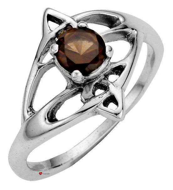 Ring Crafted In Sterling Silver Celtic Open Swirl Design With Offset Smokey Quartz Stone