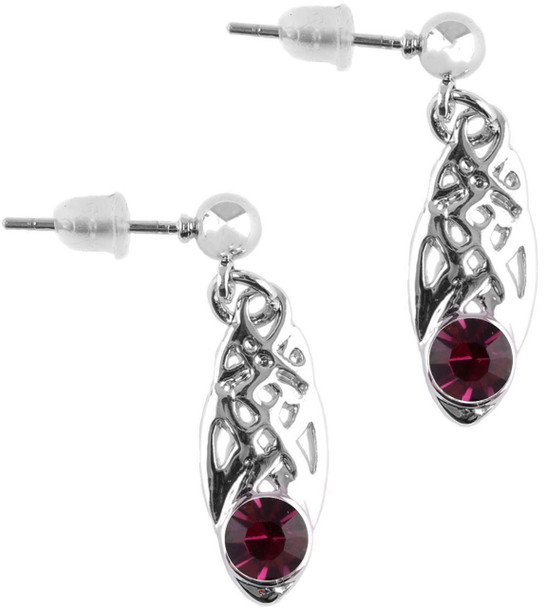 Celtic Birthstone Drop Earrings July Jewellery Silver Plated Purple Stone Scottish Gift