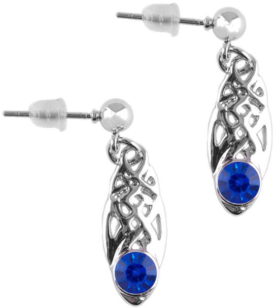 Celtic Birthstone Drop Earrings September Jewellery Silver Plated Blue Stone Scottish Gift