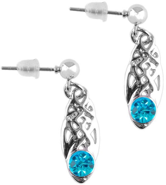 Celtic Birthstone Drop Earrings December Jewellery Silver Plated Blue Stone Scottish Gift