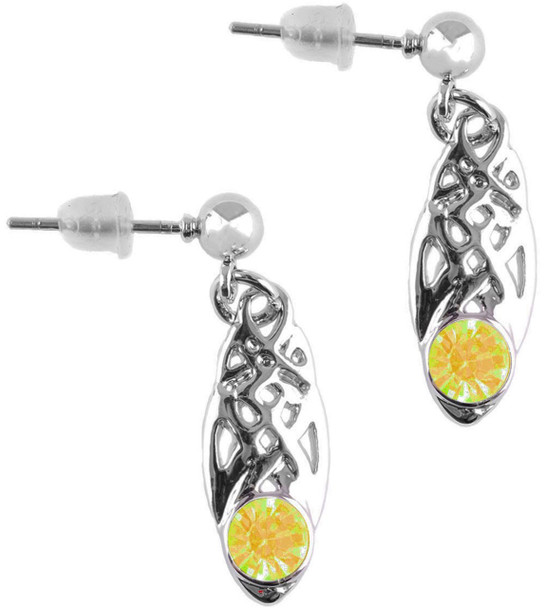 Celtic Birthstone Drop Earrings August Jewellery Silver Plated Yellow Stone Scottish Gift