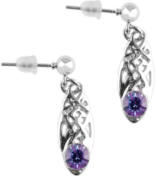 Celtic Birthstone Drop Earrings February Jewellery Silver Plated Purple Stone Scottish Gift