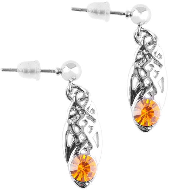 Celtic Birthstone Drop Earrings November Jewellery Silver Plated Orange Stone Scottish Gift