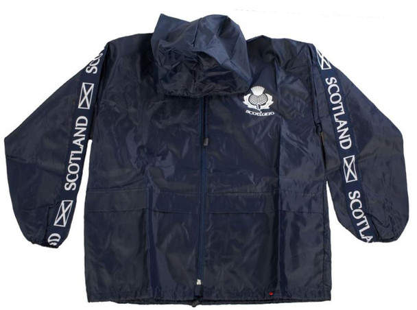 Kids Plain Rain Jacket Cagoule With Thistle Design Logo In Navy