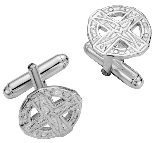 Cufflinks Sterling Silver Round Traditional Celtic Pierced Open Design