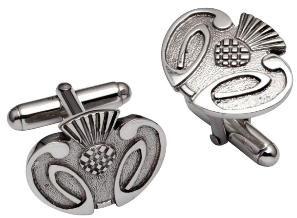 Cufflinks in Sterling Silver Stylised Scottish Thistle Relief Design
