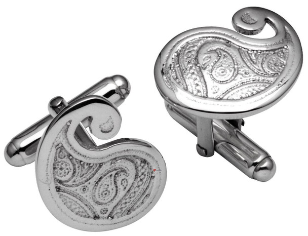 Cufflinks in Sterling Silver in Traditional Paisley Swirl Shape Design