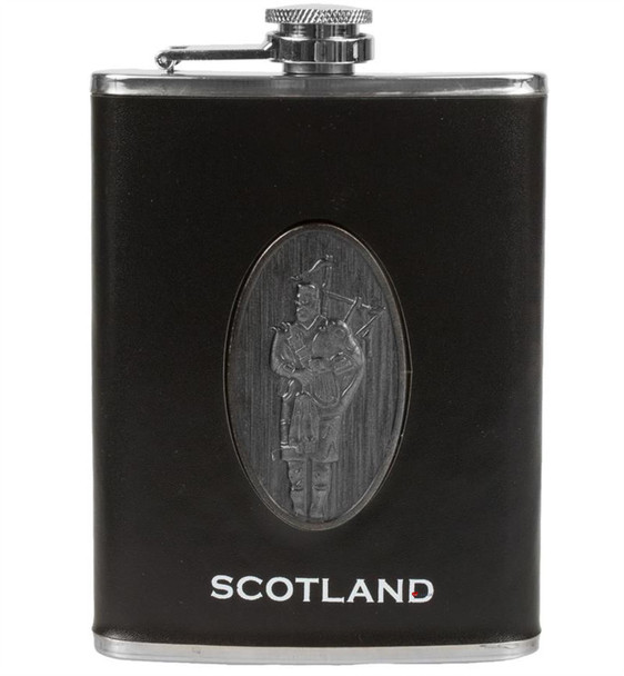8oz Hip Flask With Scottish Piper Design And Small Funnel Set