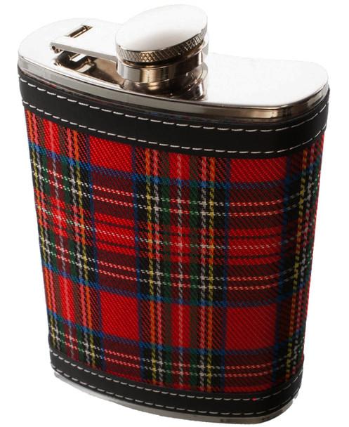 9 oz Hip Flask With Scottish Stewart Royal Tartan Design Stainless Steel