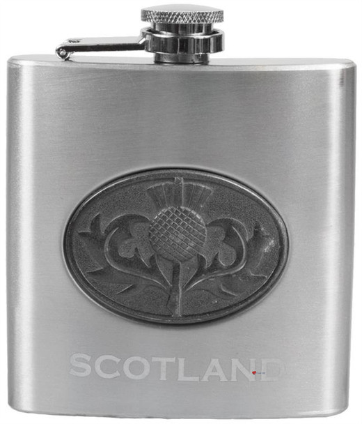 6oz Hip Flask With Two 1oz Shot Glasses And Small Funnel With Scottish Thistle Design