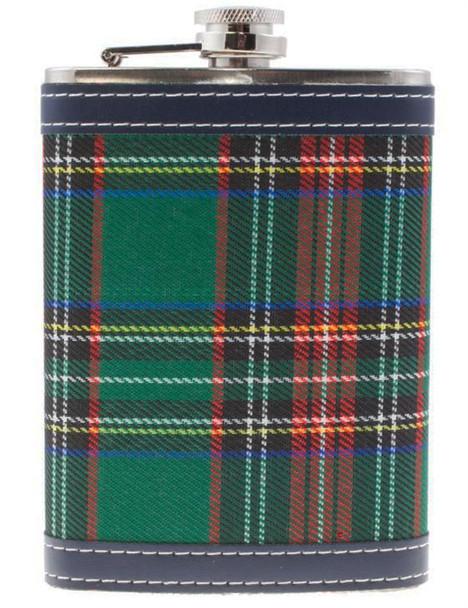 9 oz Hip Flask With Scottish Stewart Black Tartan Design Stainless Steel