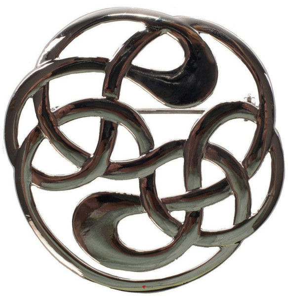 Celtic Knot Brooch for Scottish Traditional Dress Pewter Chrome Finish