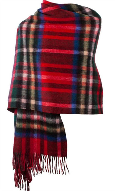Lambswool Double Faced Stole In Exploded Stewart Royal Tartan Design 73 cm Wide