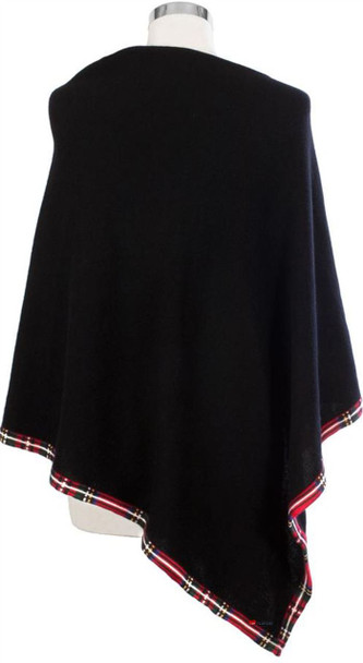 Cashmere Poncho with Tartan Edge Trim In Black 81cm Long
